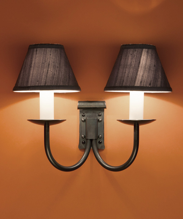 Emley double - wrought iron wall light
