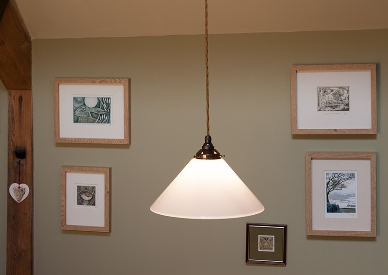 Ceiling light - opalescent coolie shade in Holmfirth range