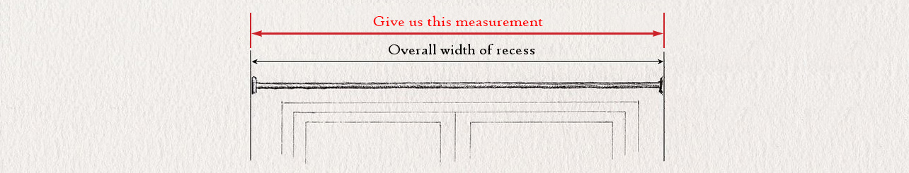 wrought iron curtain pole measuring guide for double recess curtain pole by Nigel Tyas ironwork