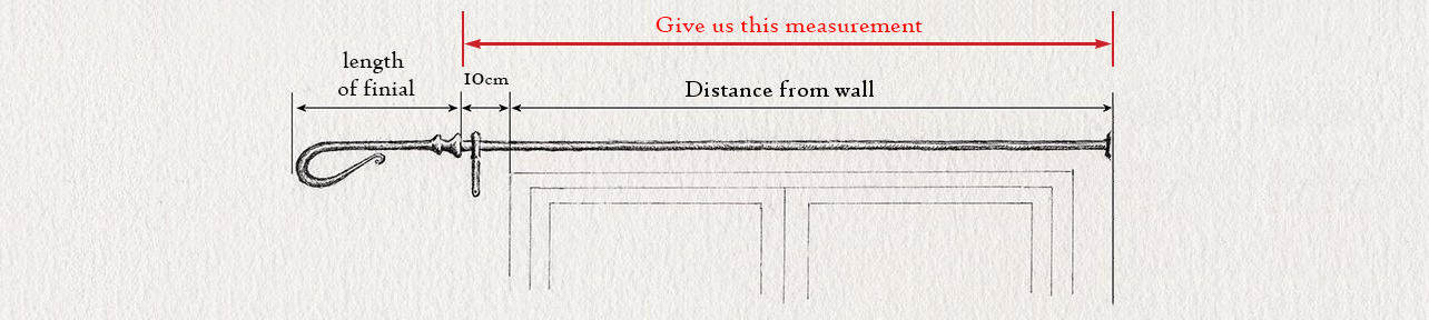 wrought iron curtain pole measuring guide for a single recess curtain pole by Nigel Tyas ironwork