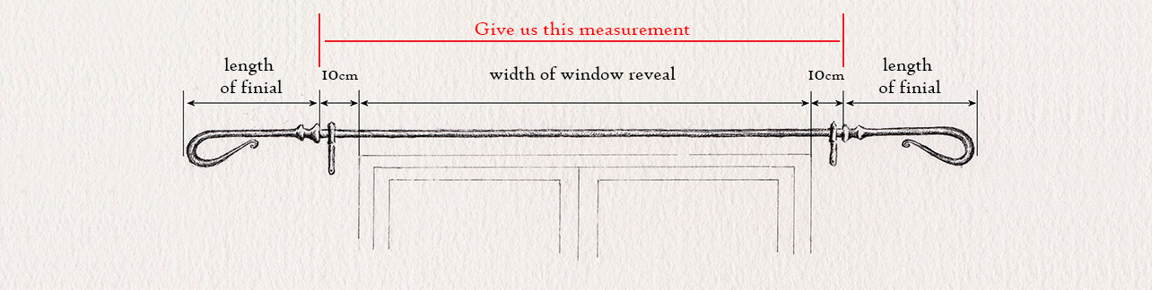 wrought iron curtain pole measuring guide for straight curtain pole by Nigel Tyas ironwork