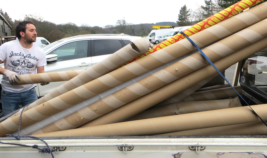 cardboard carpet tube delivery at Bullhouse Mill