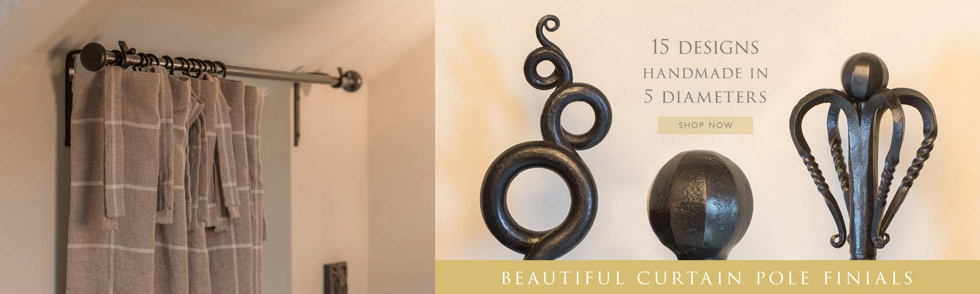 Wrought Iron Curtain Pole Finials from Nigel Tyas Ironwork
